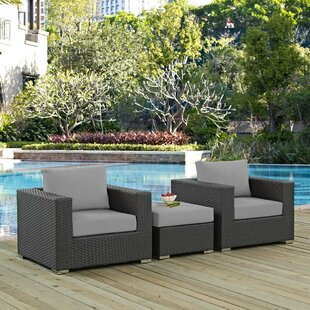 Leda 3 Piece Rattan Sunbrella 2 Person Seating Group with Cushions