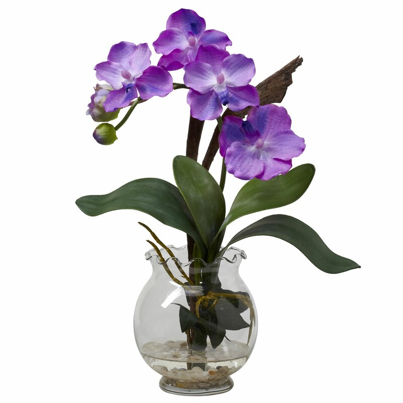 Nearly natural mini vanda with fluted vase silk flower in purple mini vanda with fluted vase silk flower in purple mightylinksfo