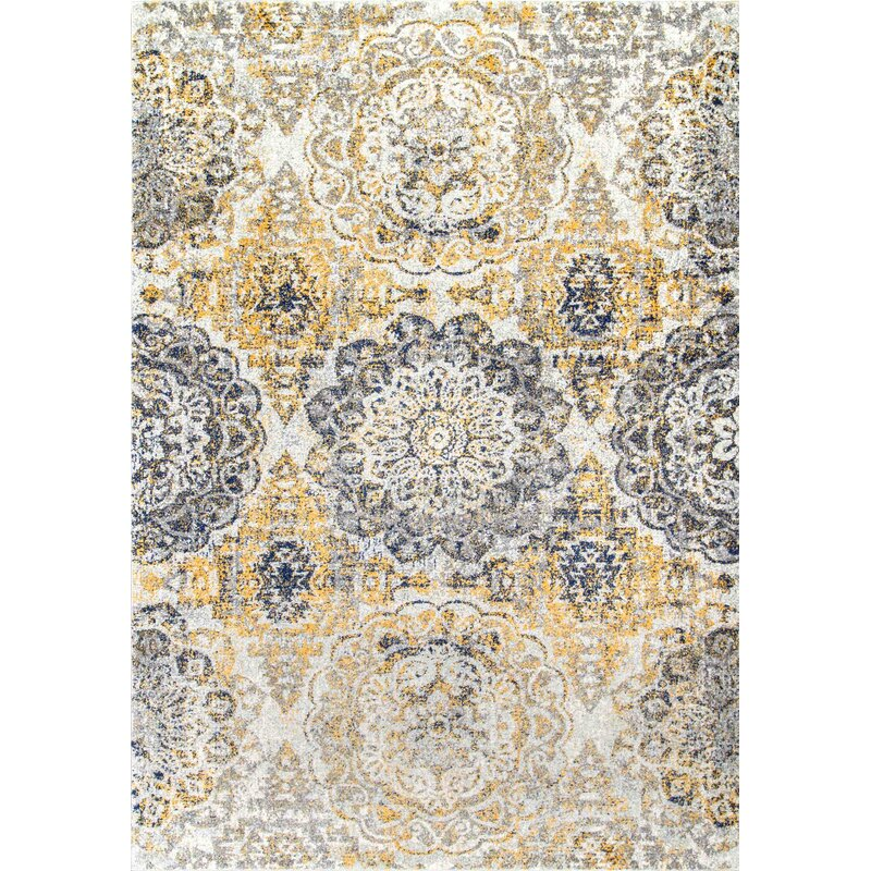 Bungalow Rose Kelvin Gold Navy Blue Gray White Area Rug
