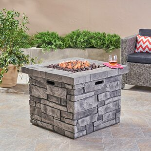 17 Stories Cookson Stone Propane Fire Pit Table