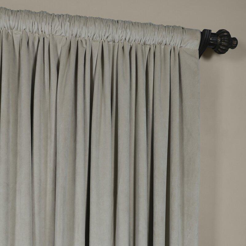 Signature Solid Extra Wide Velvet Blackout Rod Pocket Single Curtain ...