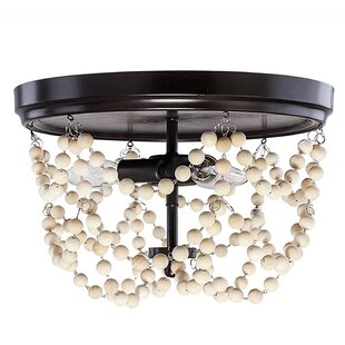 Adan Metal and Wood Bead 3-Light Flush Mount