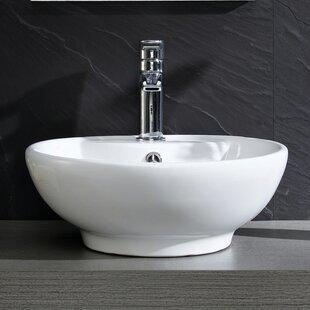 Reviews Modern Ceramic Circular Vessel Bathroom Sink with Overflow ByFine Fixtures