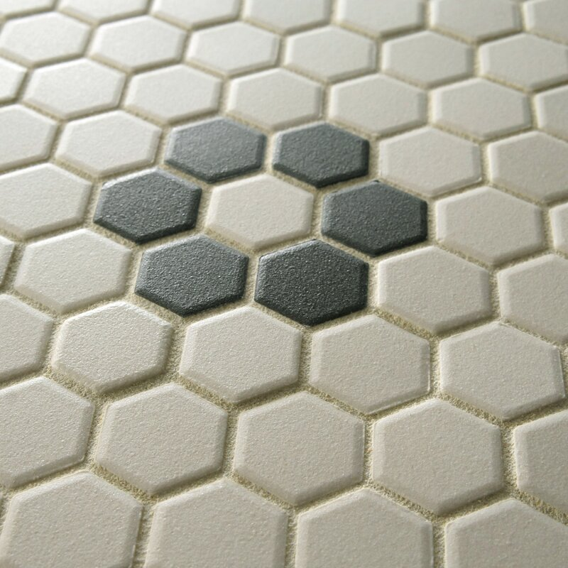 New York Hexagon 0 875 X Porcelain Unglazed Mosaic Tile In Textured Black