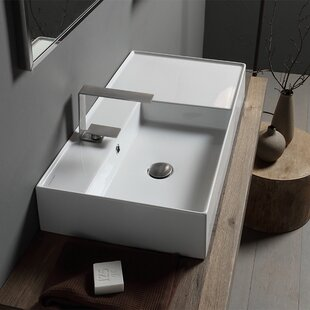 Perfect Teorema Ceramic Rectangular Vessel Bathroom Sink With Overflow