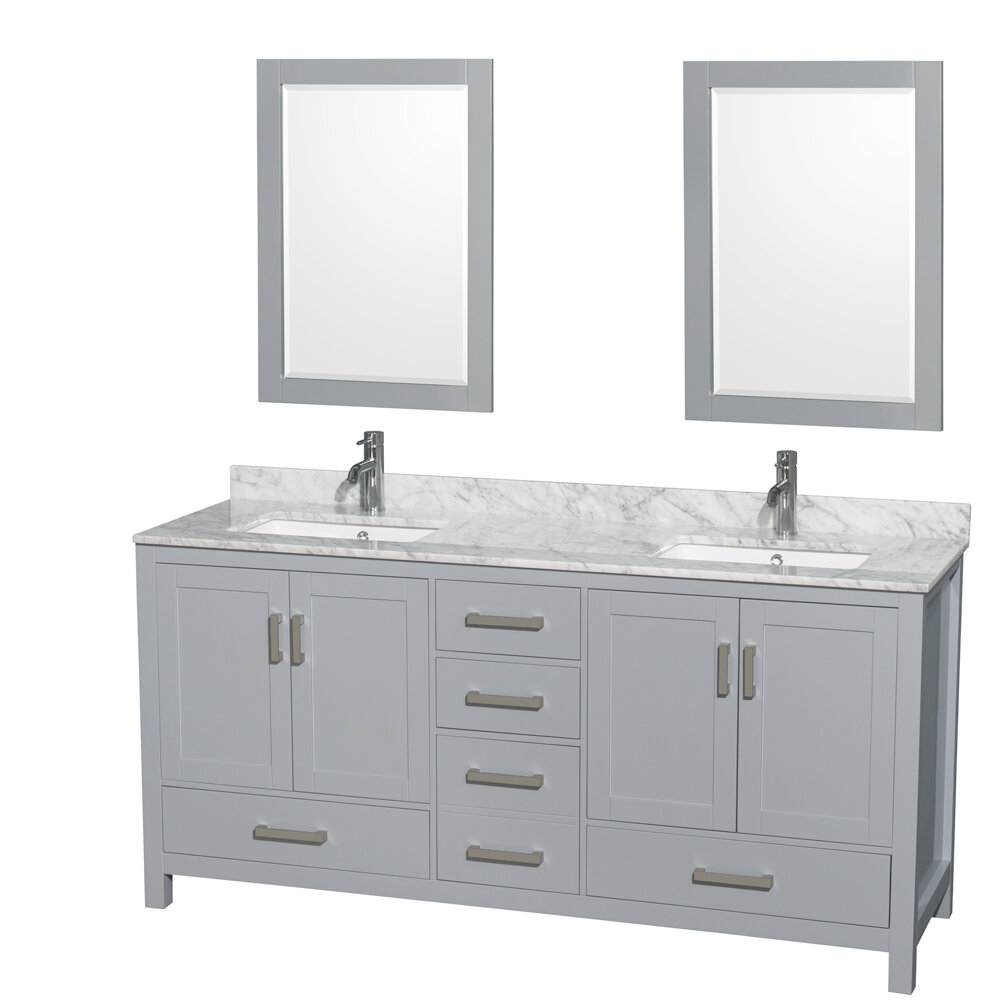 Wyndham Collection Sheffield 72 Double Bathroom Vanity Set With Mirror Reviews Wayfair