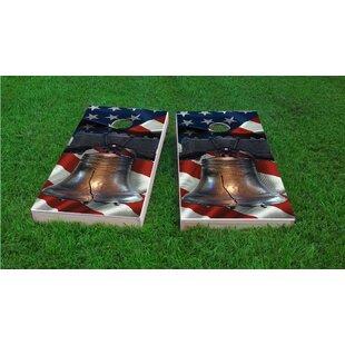 Custom Cornhole Boards Liberty Bell Over American Flag Light Weight Cornhole Game Set