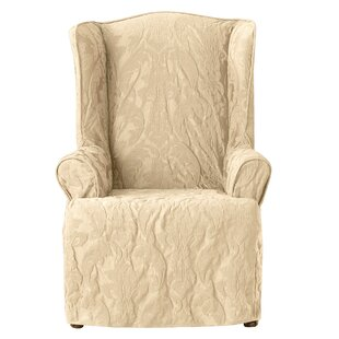Matelasse Damask T-Cushion Wingback Slipcover