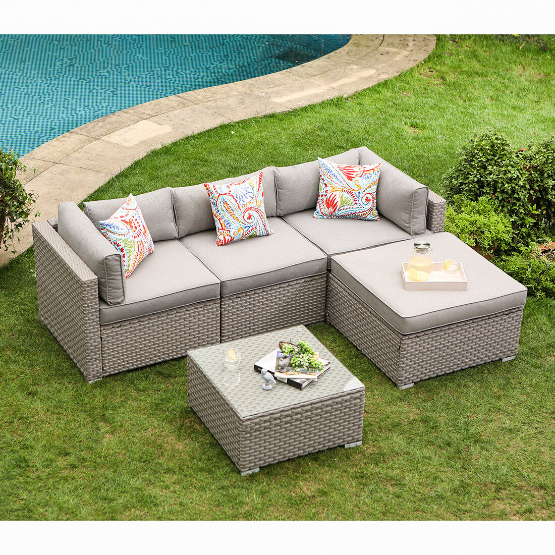 5 Piece Outdoor Furniture Set Warm Gray