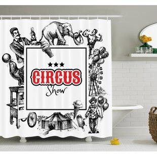 Circus Show Logo with Magician Elephant Creepy Tricks Performance Sketchy Art Shower Curtain Set