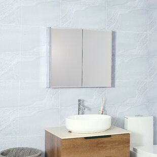 Talullah Recessed or Surface Mount Frameless 2 Doors Medicine Cabinet with 4 Adjustable Shelves