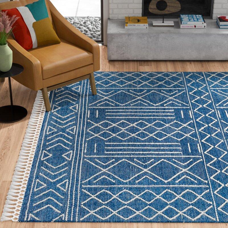 Allmodern Karla Geometric Hand Tufted Wool Navy Blue Beige Area Rug Reviews Wayfair