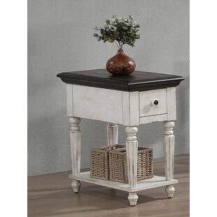 Redwood Vintage Estates End Table with Storage by August Grove
