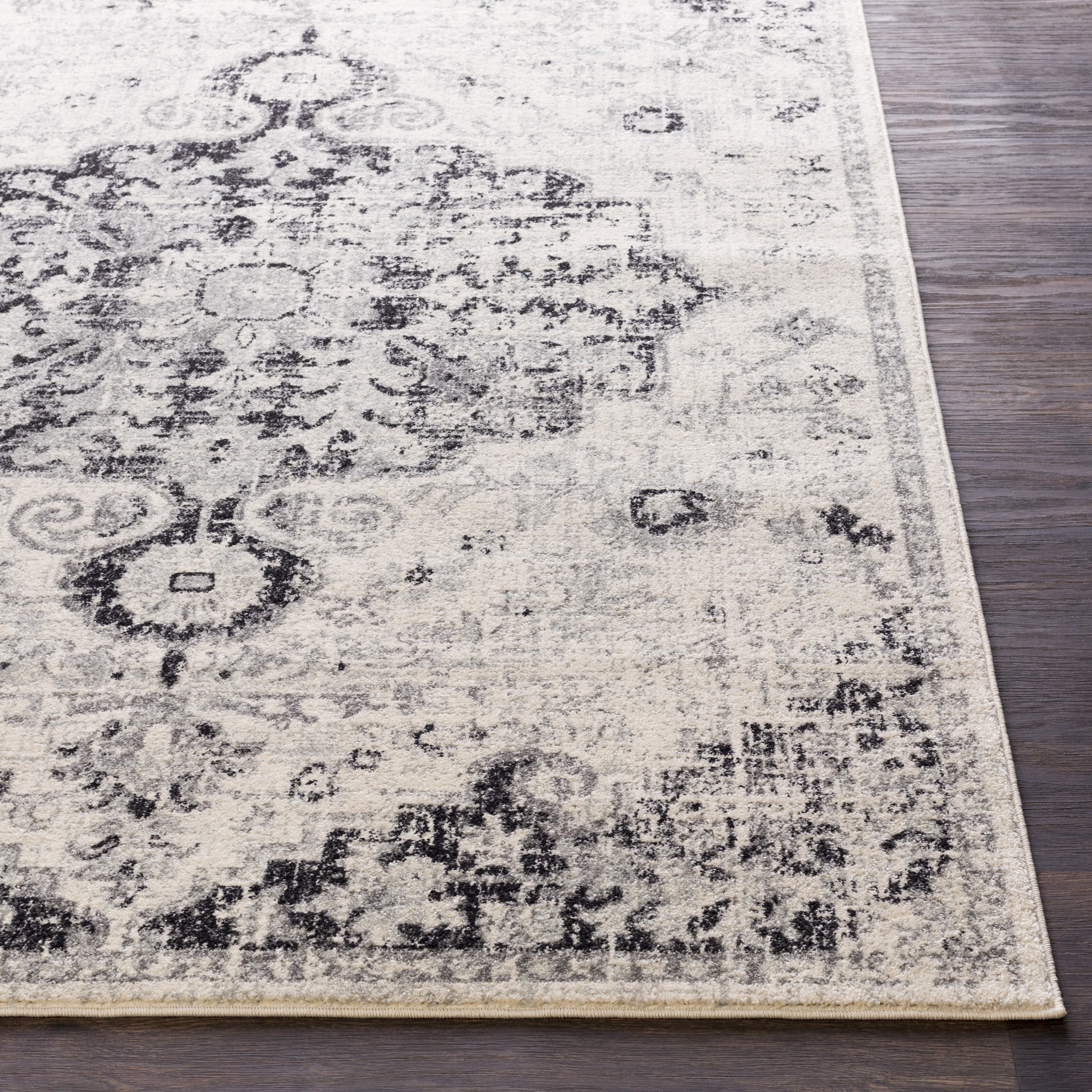 Hillsby Black Light Gray Beige Charcoal Area Rug