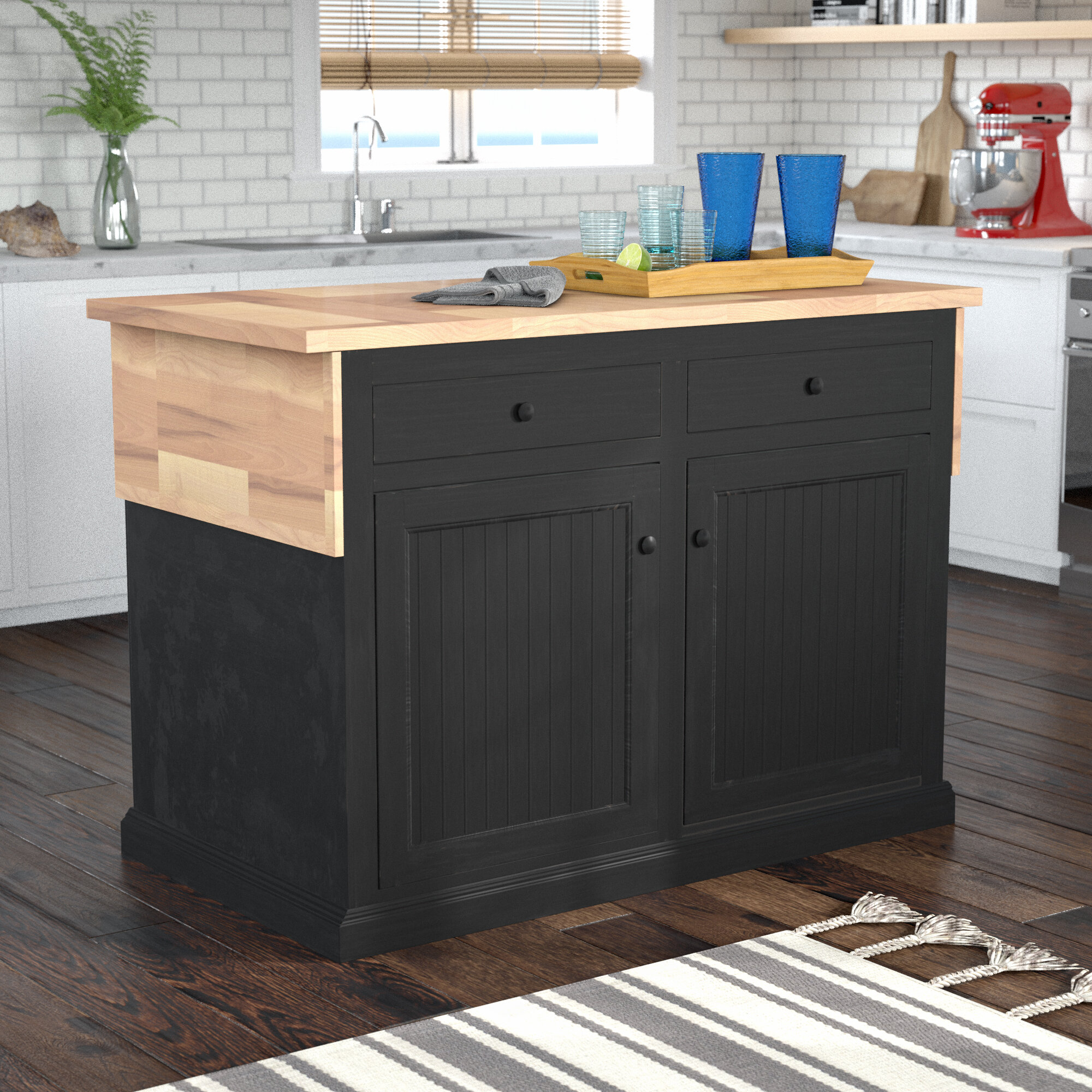 Breakwater Bay Meredith Kitchen Island With Butcher Block Top Reviews Wayfair