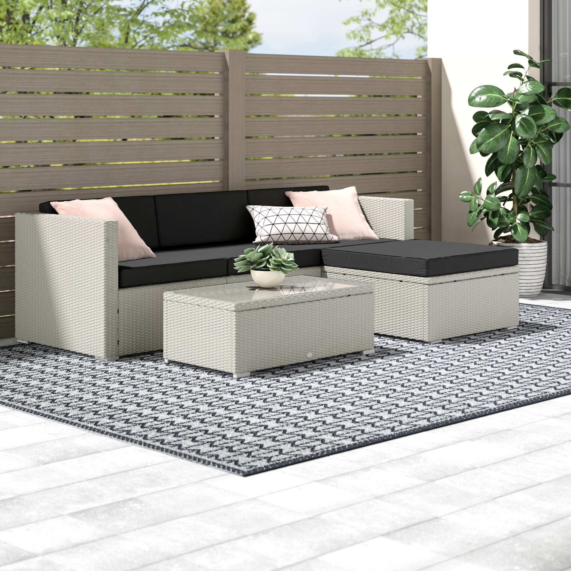 Sol 72 Outdoor Somersworth 4 Seater Rattan Sofa Set Reviews