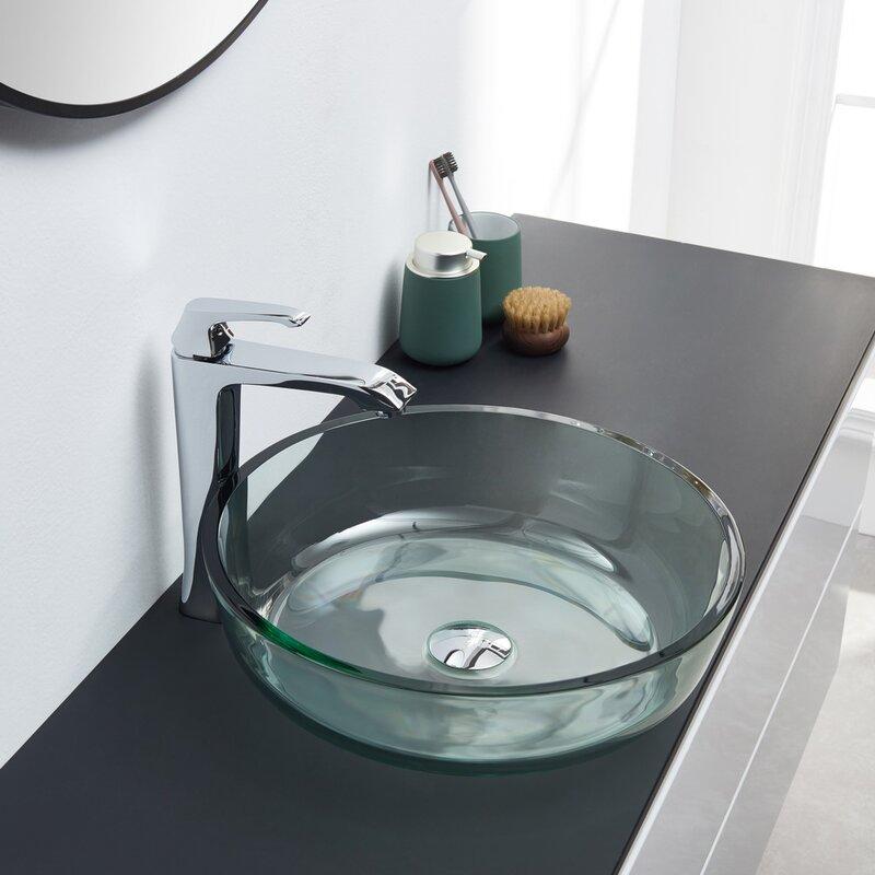 Kalyste Green White Glass Handmade Circular Vessel Bathroom Sink Wayfair