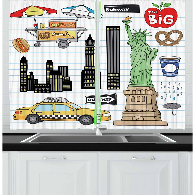 East Urban Home Doodle 2 Piece Kitchen Curtain Wayfair