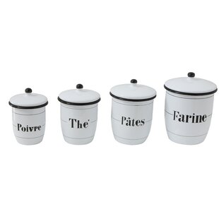 Enameled 4 Piece Kitchen Canister Set