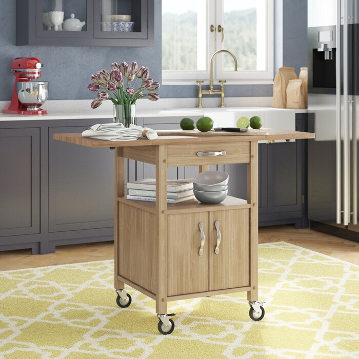 Baca Kitchen Cart with Wooden Top