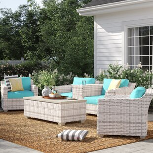Falmouth 6 Piece Rattan Sectional Seating Group with Cushions