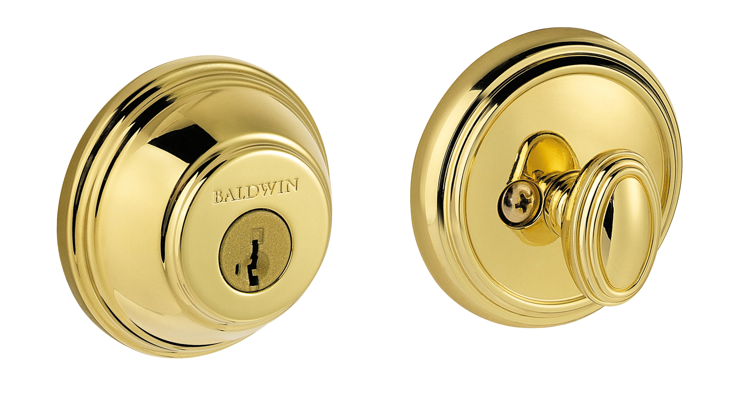 Split Finishes Available Baldwin Traditional Square Double Cylinder Deadbolt
