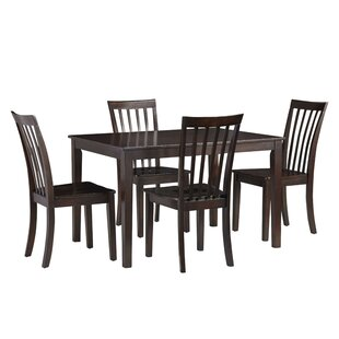 Rolle 5 Piece Solid Wood Dining Set Charlton Home