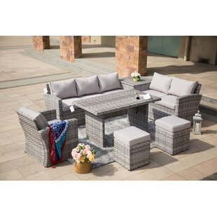 Michelson 7 Piece Rattan Sofa Seating Group with Cushions