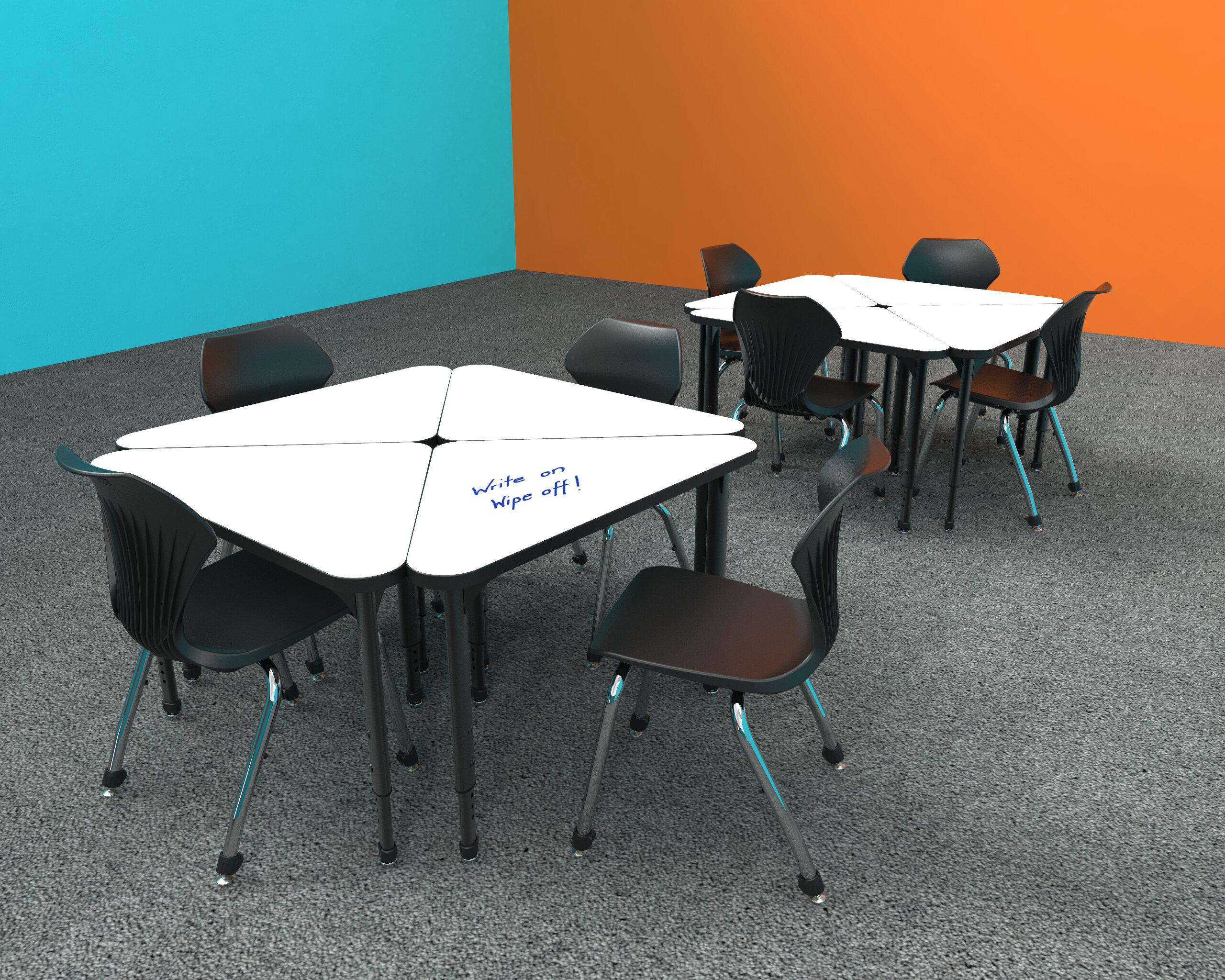 Pewter Mesh-Top Marco Group Premier Series 43a-2290-J1-BLK 38 x 31 Chevron Shaped Adjustable Height Classroom Desk Black-Edge 21-31