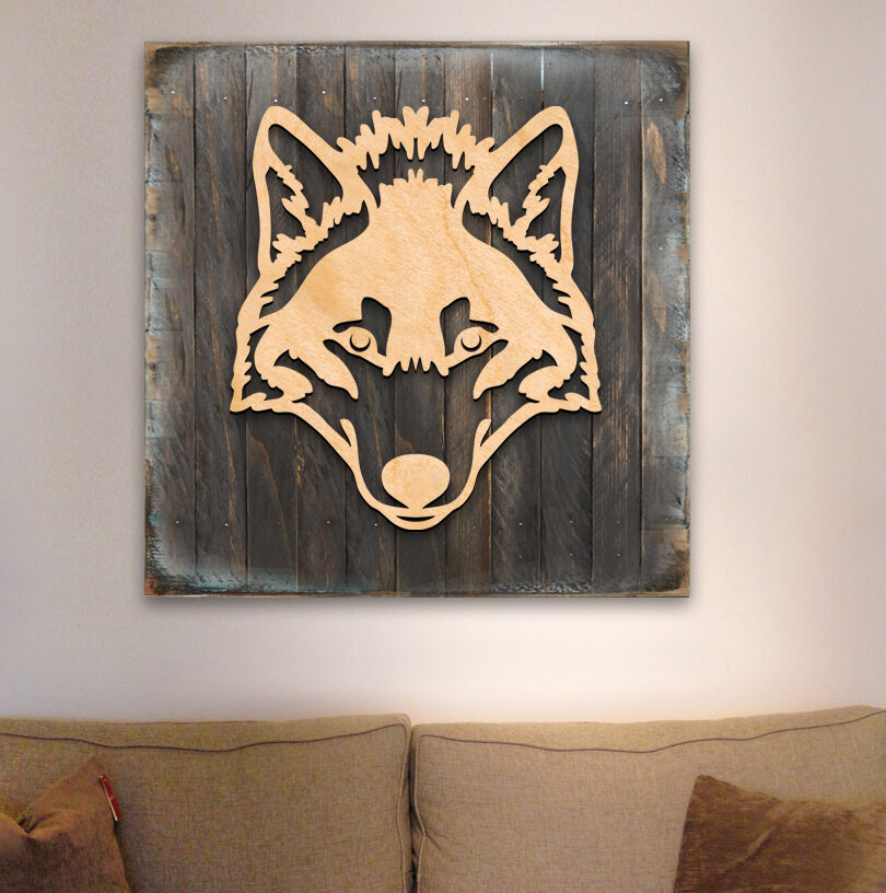 Painted Abstract Wolf Woden Wall Plaque Gift Sign