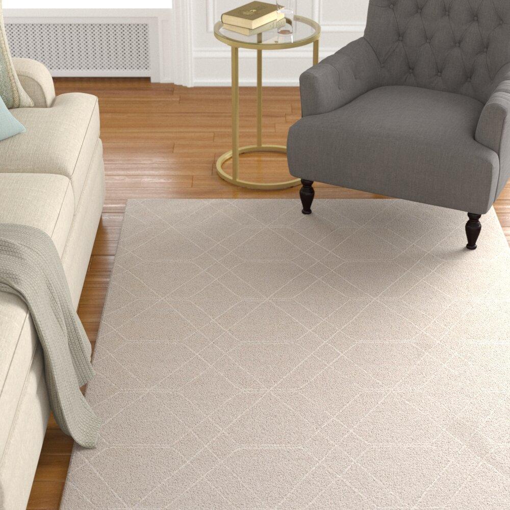 Charlton Home Rawlins Geometric Handwoven Wool Khaki Area Rug Wayfair