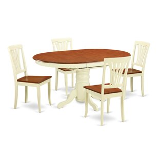 Emmaline 5 Piece Extendable Solid Wood Di..