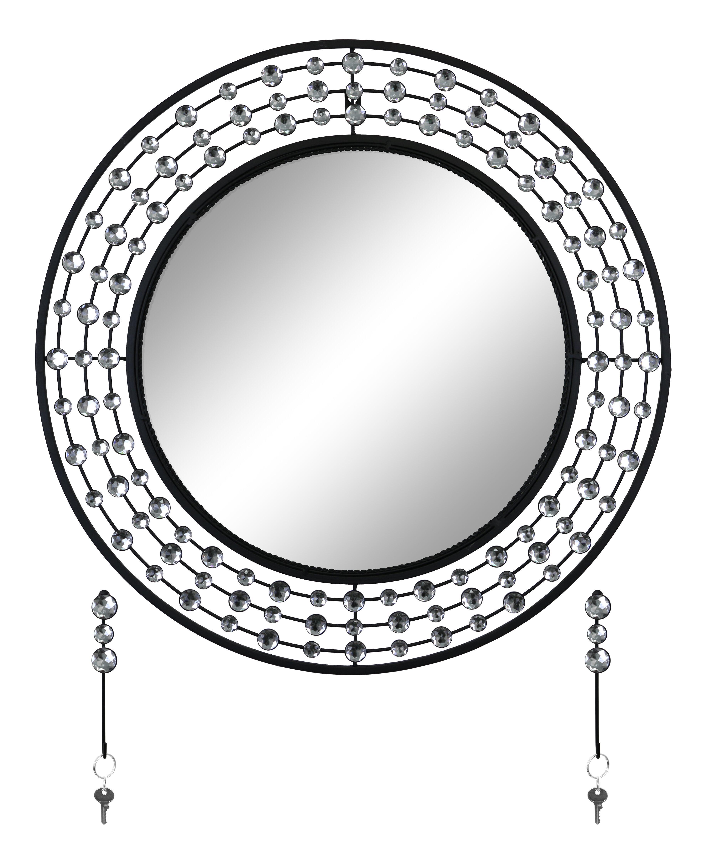 Latitude Run Elegant Bejeweled Round Overmantel Wall Mirror Wayfair
