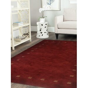 Rugsotic Hand Knotted Wool Red Indoor Area Rug