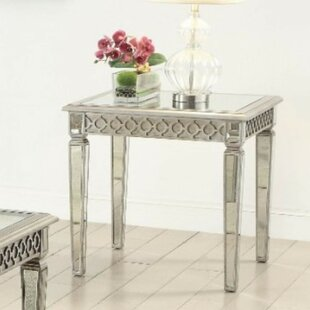 House of Hampton Beiler Geometric Trim Accented Wooden End Table