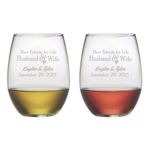 Best Friends For Life 21 Oz. Stemless Wine Glass (Set of 2)
