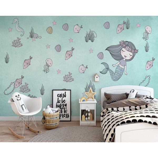 Sunside Sails Wall Paper Peel And Stick Mermaid Ariel Starfish Kids Wallpaper Wayfair