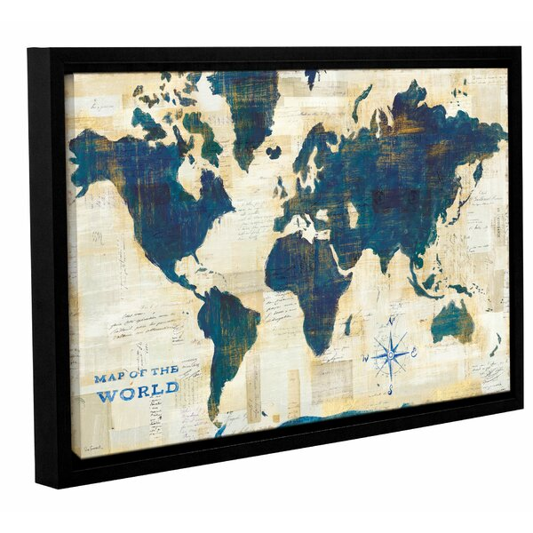 Ivy Bronx World Map Collage Framed Painting Print on Wrapped Canvas ...