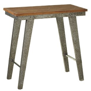 Gracie Oaks Alborghus Tall Natural Top Galvanized Leg Console Table