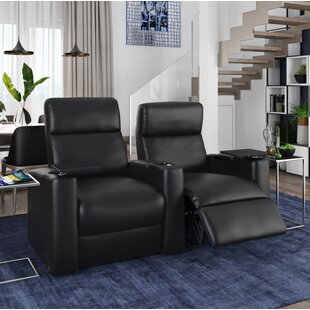 Ebern Designs Power Leather Home Theater Loveseat