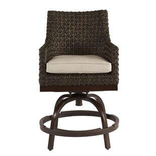 Gracie Oaks Asphodèle Outdoor Wicker Patio Bar Stool with Cushion