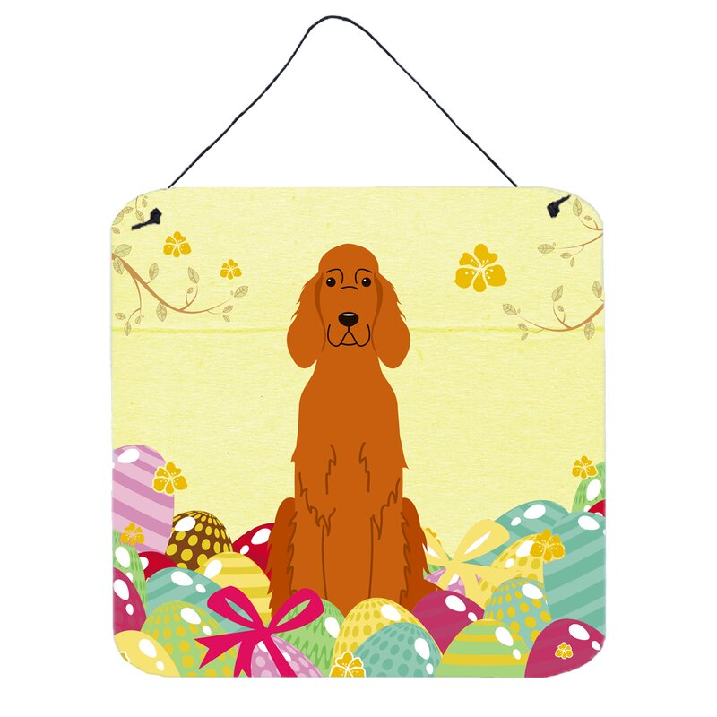 The Holiday Aisle Easter Eggs Irish Setter Wall Décor | Wayfair