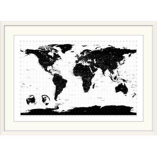 World map black and white wayfair world map by michael tompsett graphic art print gumiabroncs Choice Image