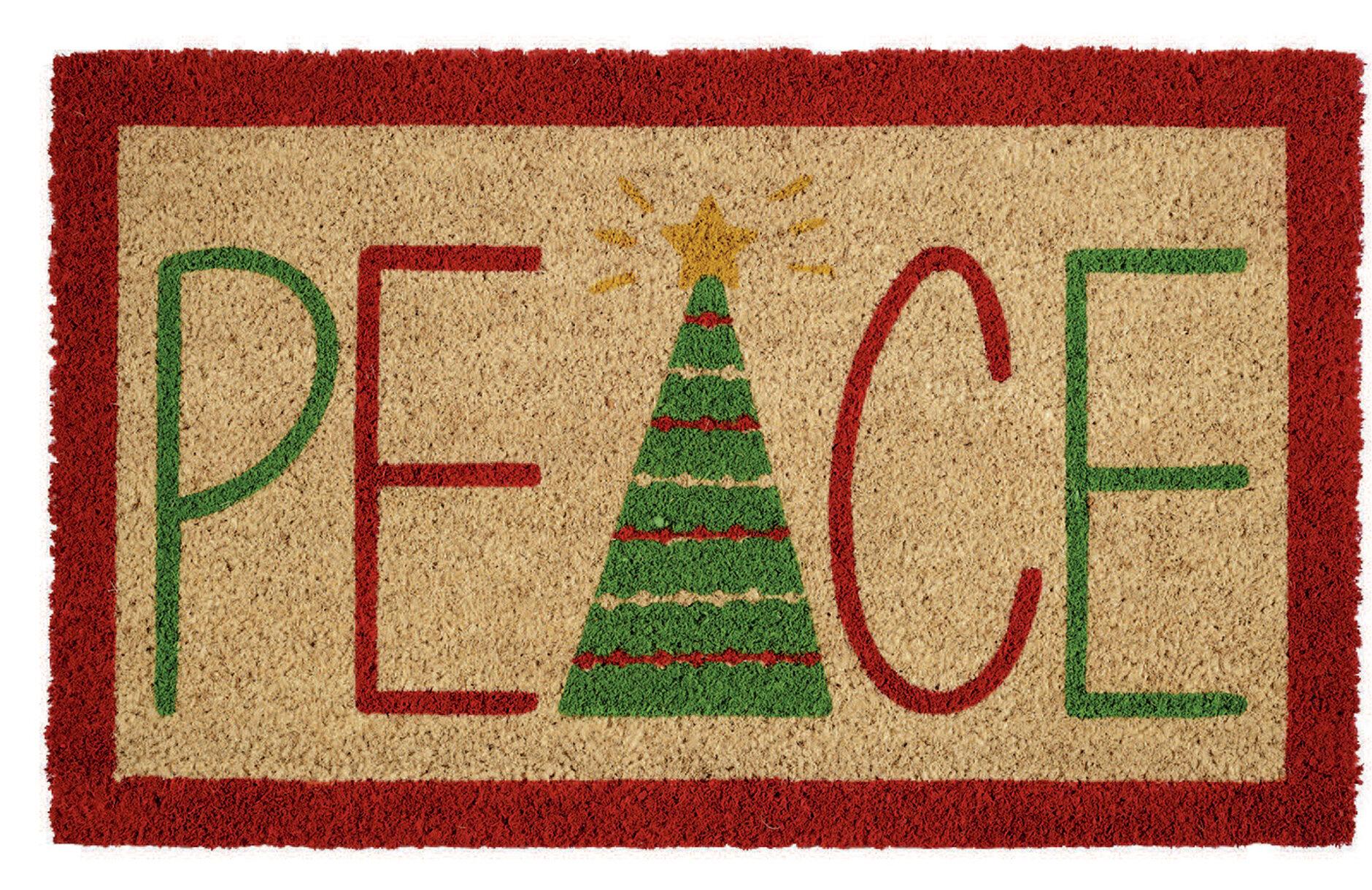 The Holiday Aisle Boylston Peace 30 X 18 Non Slip Outdoor Door Mat Reviews Wayfair