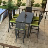 Barbados 7 Piece Bar Height Dining Set with Sunbrella Cushions