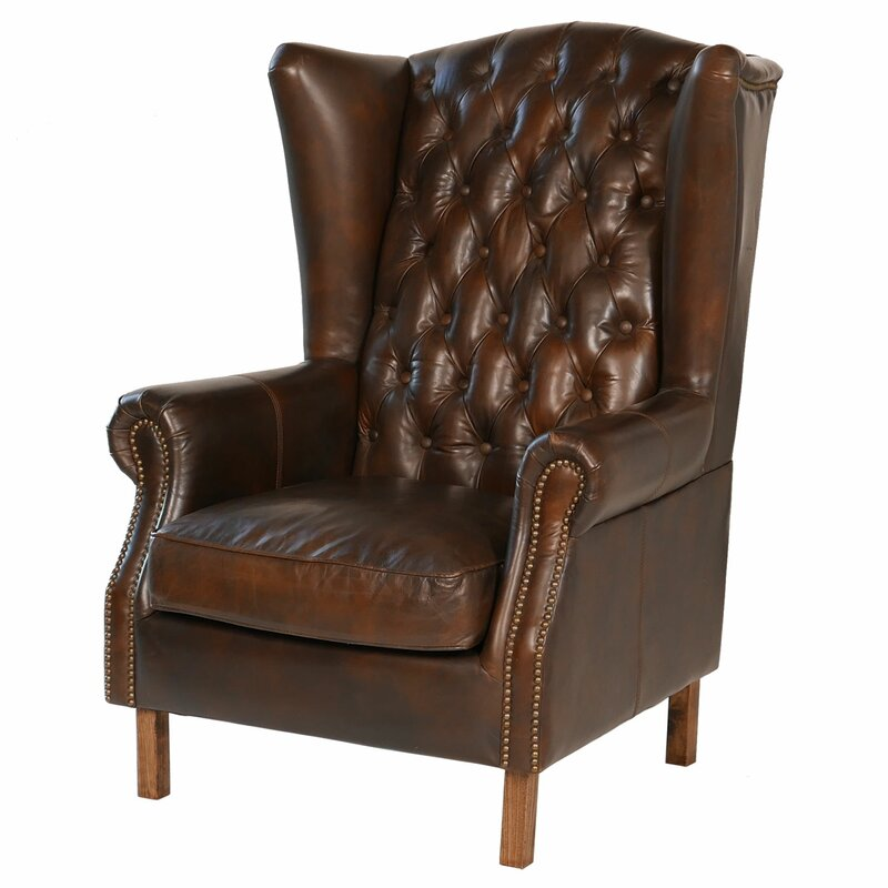 Genial Old World Antique Leather Wingback Chair