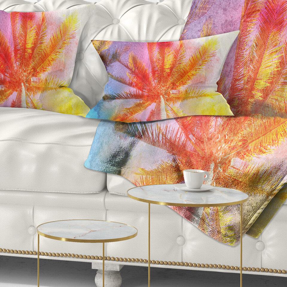 East Urban Home Landscape Reflective Retro Palm Trees Lumbar Pillow Wayfair