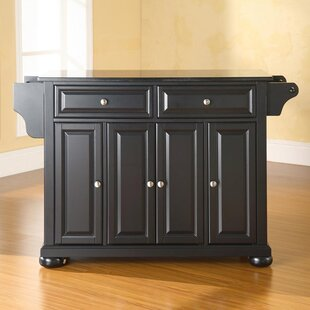 Hedon Kitchen Island with Black Granite Top Three Posts