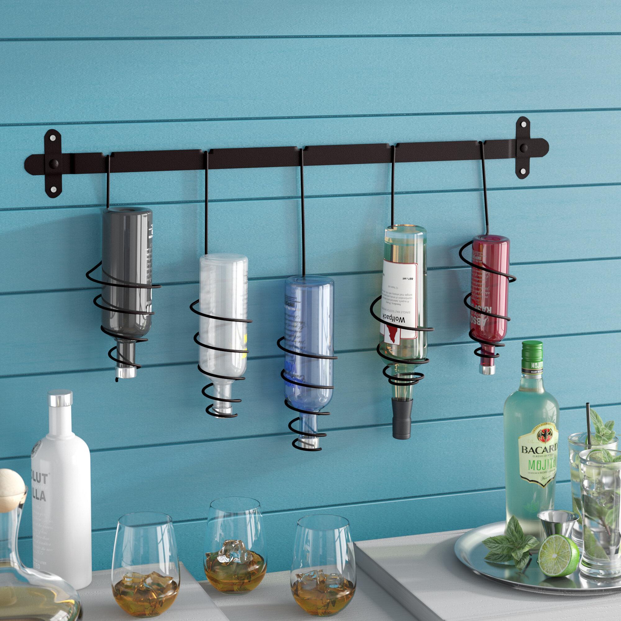 Latitude Run Justis 5 Bottle Wall Mounted Wine Rack & Reviews | Wayfair