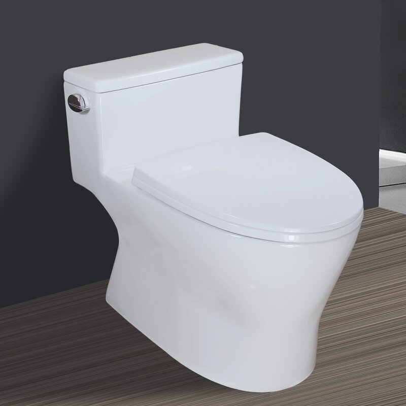 Winzo 1 28 Gpf Water Efficient Elongated One Piece Toilet Seat Included Wayfair